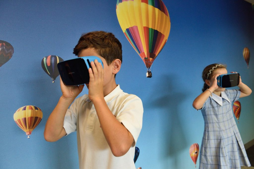 children playing VR