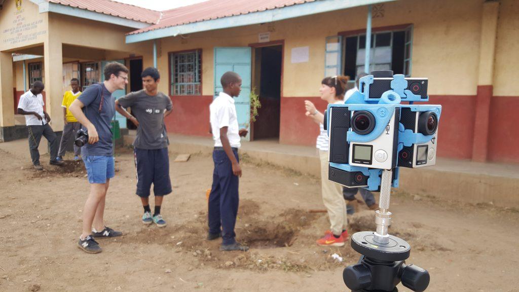 A behind scenes shot of filming in Kenya