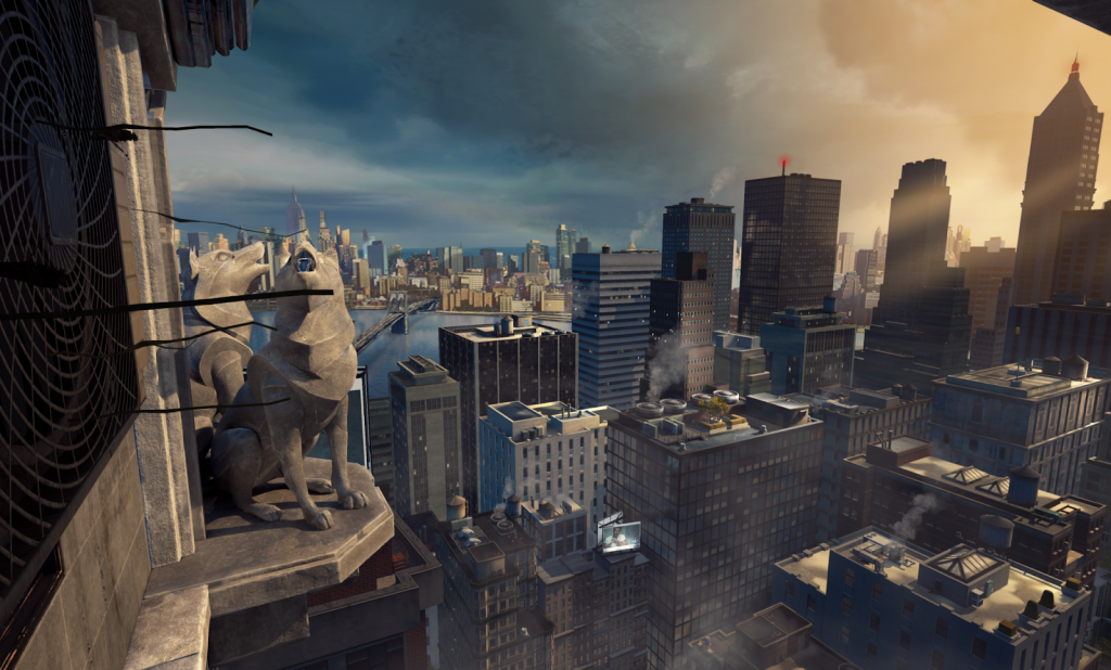 A virtual view of New York skyline in Diesel's 5D experience