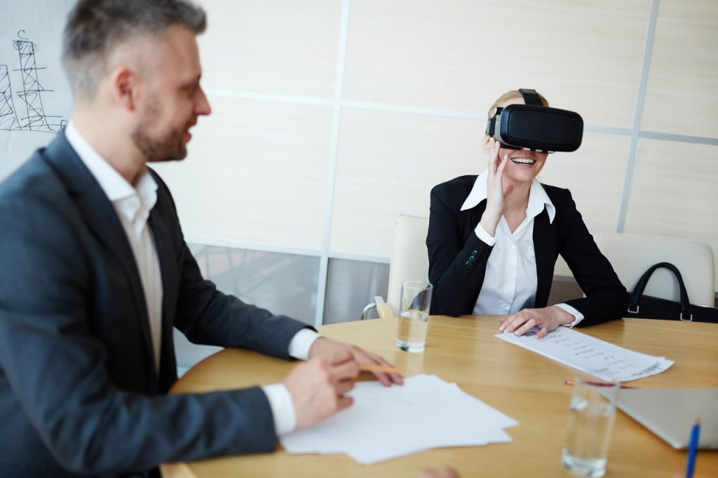 Two people during a VR soft skills training perhaps during a roleplay