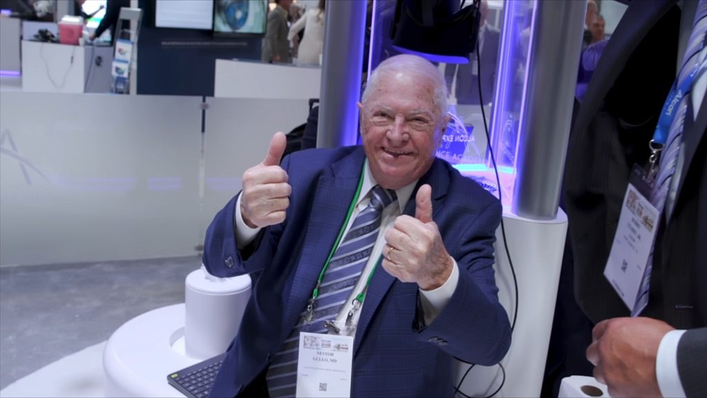 An elderly gentleman smiling probably after experiencing Elara's VR experience of ocular nerve