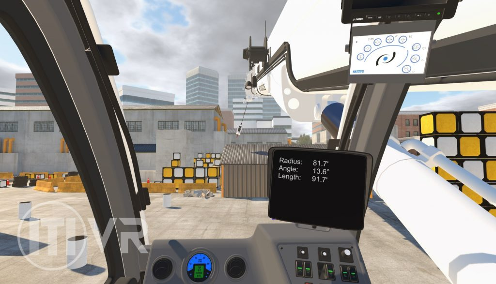 A snapshot of ITI's VR Crane simulator