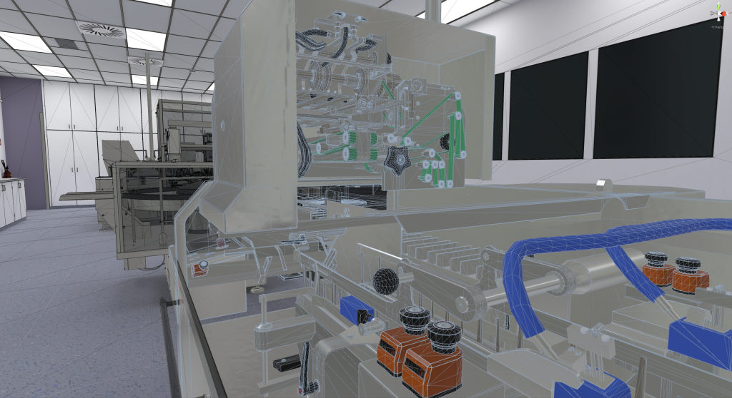 A high-end graphic of a pharma production line as re-created for a VR training