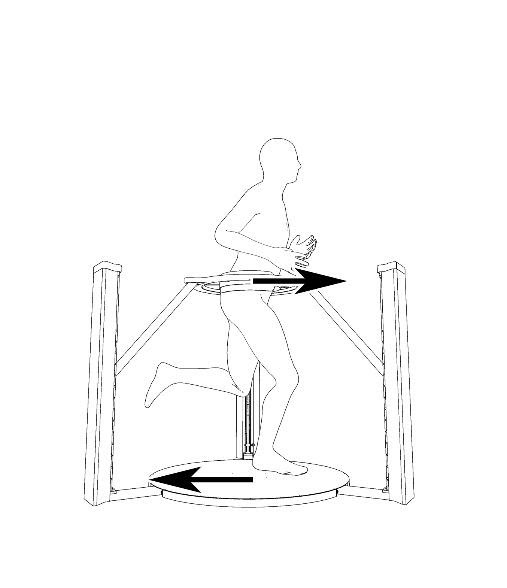 A sketch illustrating the forces of walking in a passive VR locomotion device