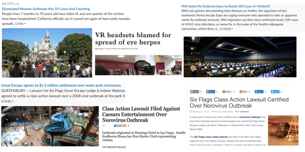 a collage of bad press relating to lack of hygiene in immersive technologies industry