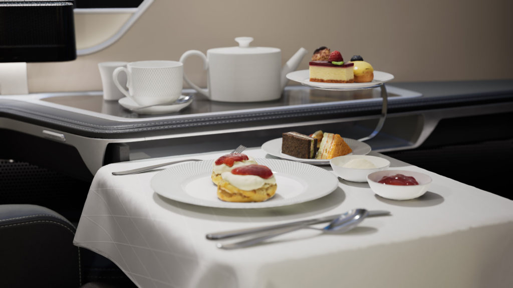 BA first class simulation in VR - afternoon tea