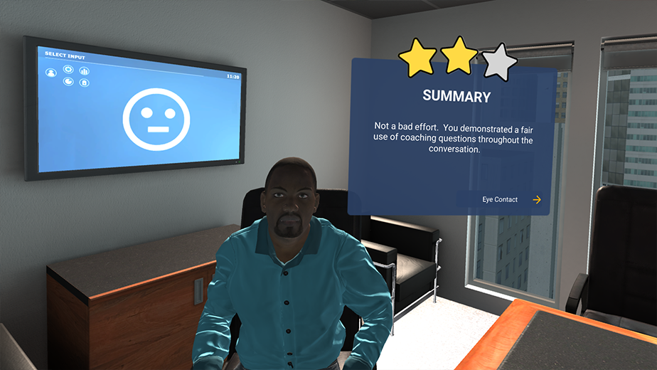 A snippet of VR soft skills training