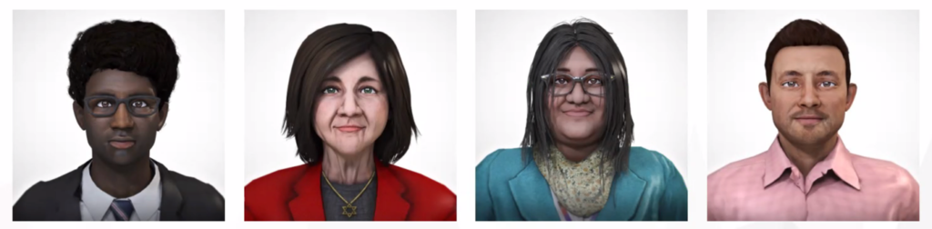 the headshots of people in VR used for various VR trainings