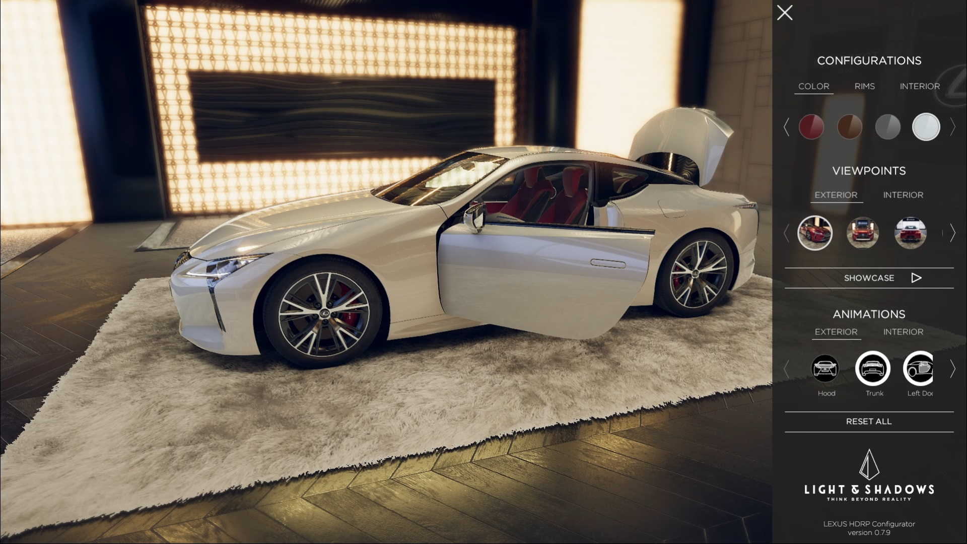 Lexus white LC500 in 3D configurator by Light & Shadows