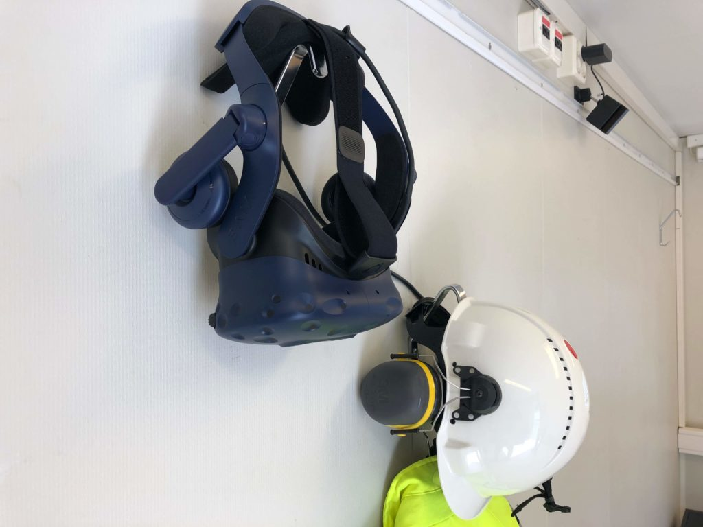 VR headset and construction site PPE