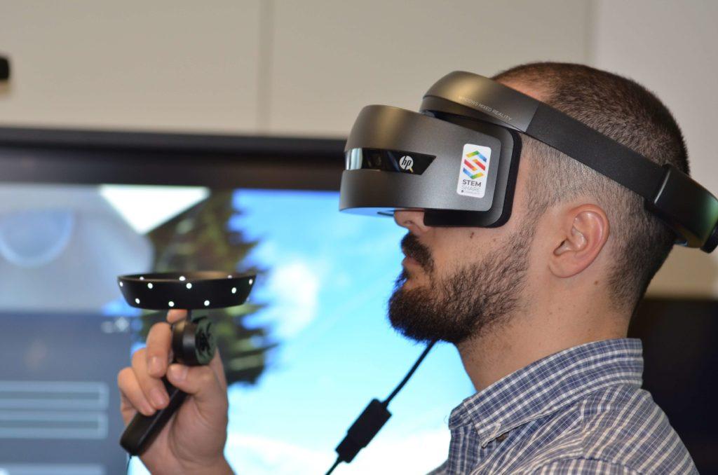 A man doing VR training