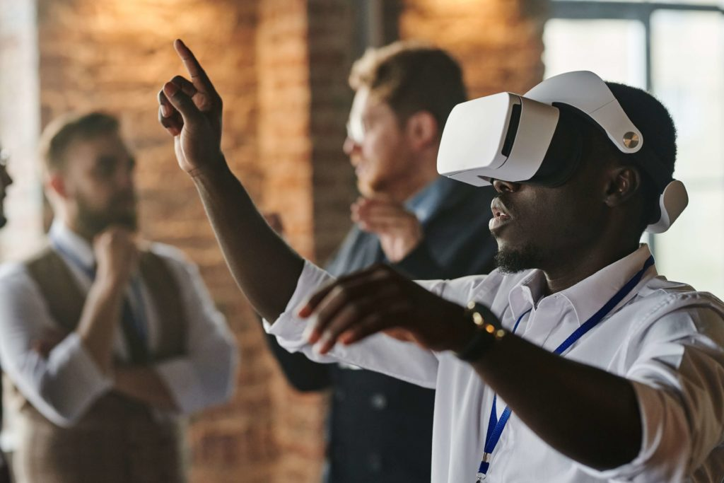 An individual using VR headset for VR training session
