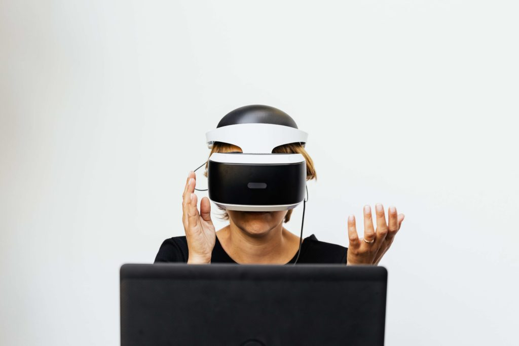 A women doing VR training